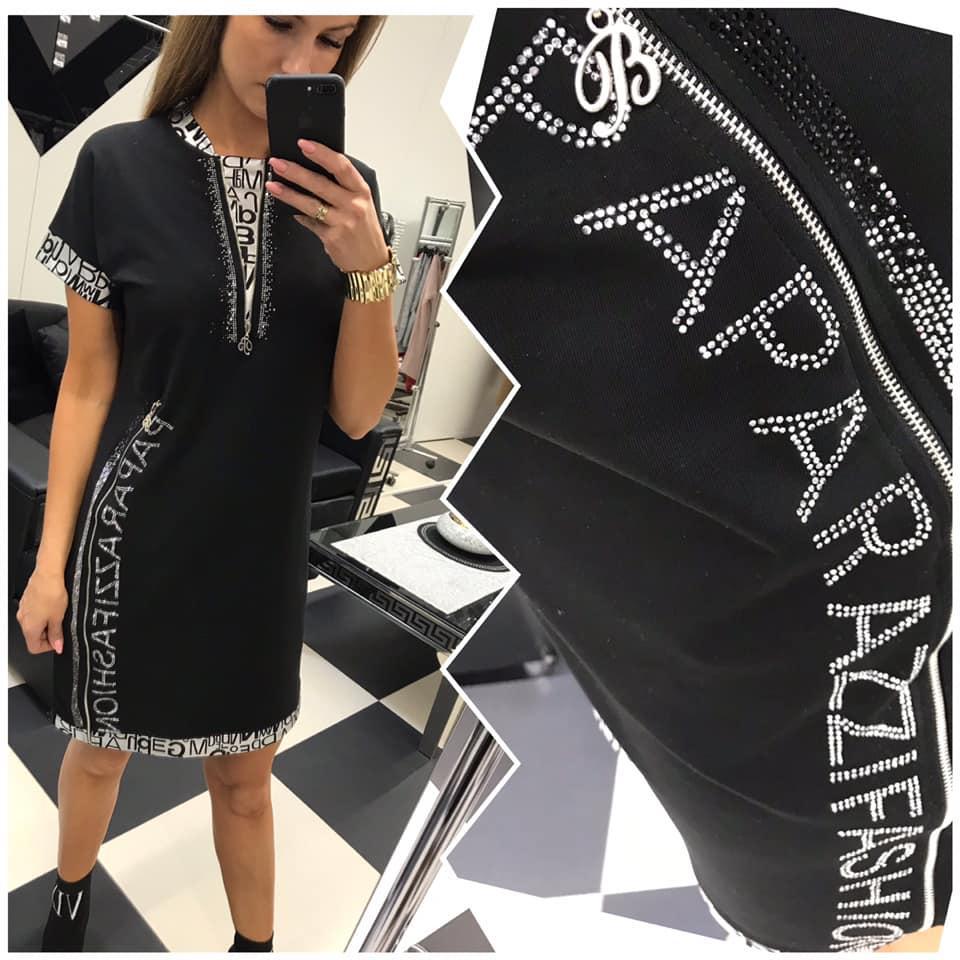 358726d14d3c Čierno-strieborné olemované šaty Paparazzi fashion.