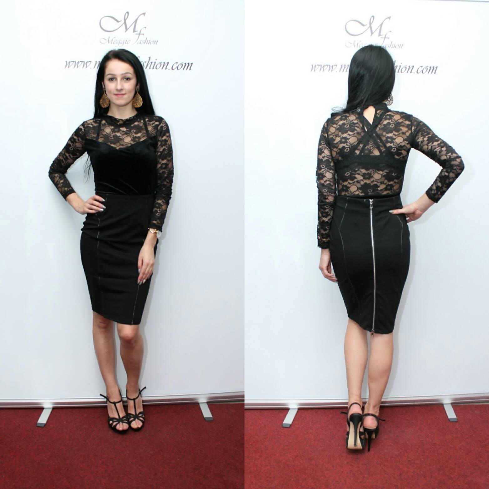 64e0a981b74e Dámska čierna tulipanová sukňa s vysokým pásom.