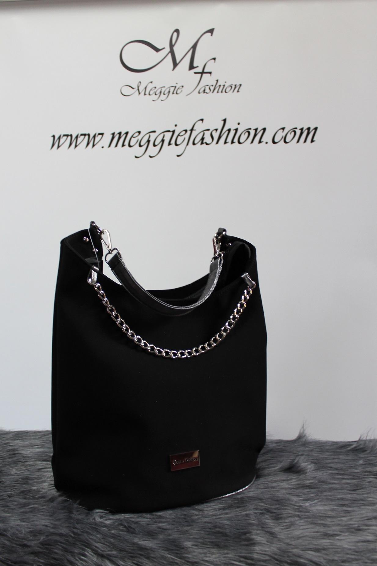 Čierna kožená kabelka s retiazkou CARLA BERRY.  1672b35352b