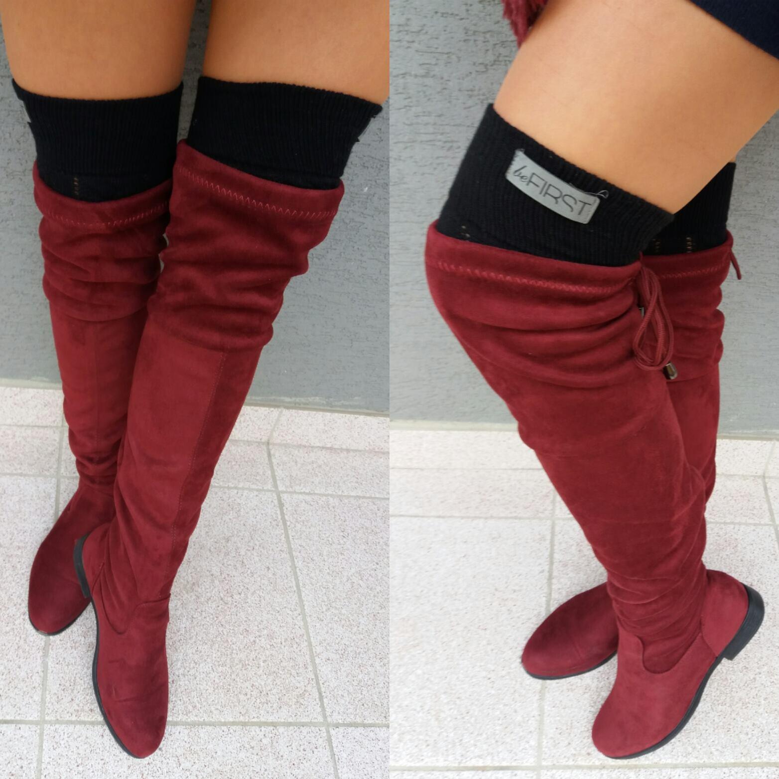 d3cbe5b23 Bordové semišové čižmy nad kolená. | Meggie Fashion / Nadčasová móda ...