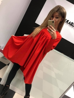 4c5d724703fd Červené nariasené šaty tunika Agatka. empty