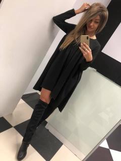 6ae30ba531f3 Čierne nariasené šaty tunika Agatka. empty